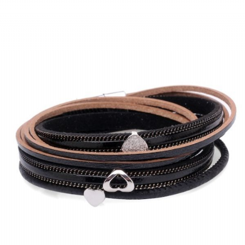 Double Wrap Sparkle Hearts Leather Bracelet in Black